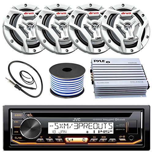 "JVC Marine Boat Yacht Radio Stereo CD Player Receiver Bundle Combo 6.5"" 2-Way Coaxial Speakers"