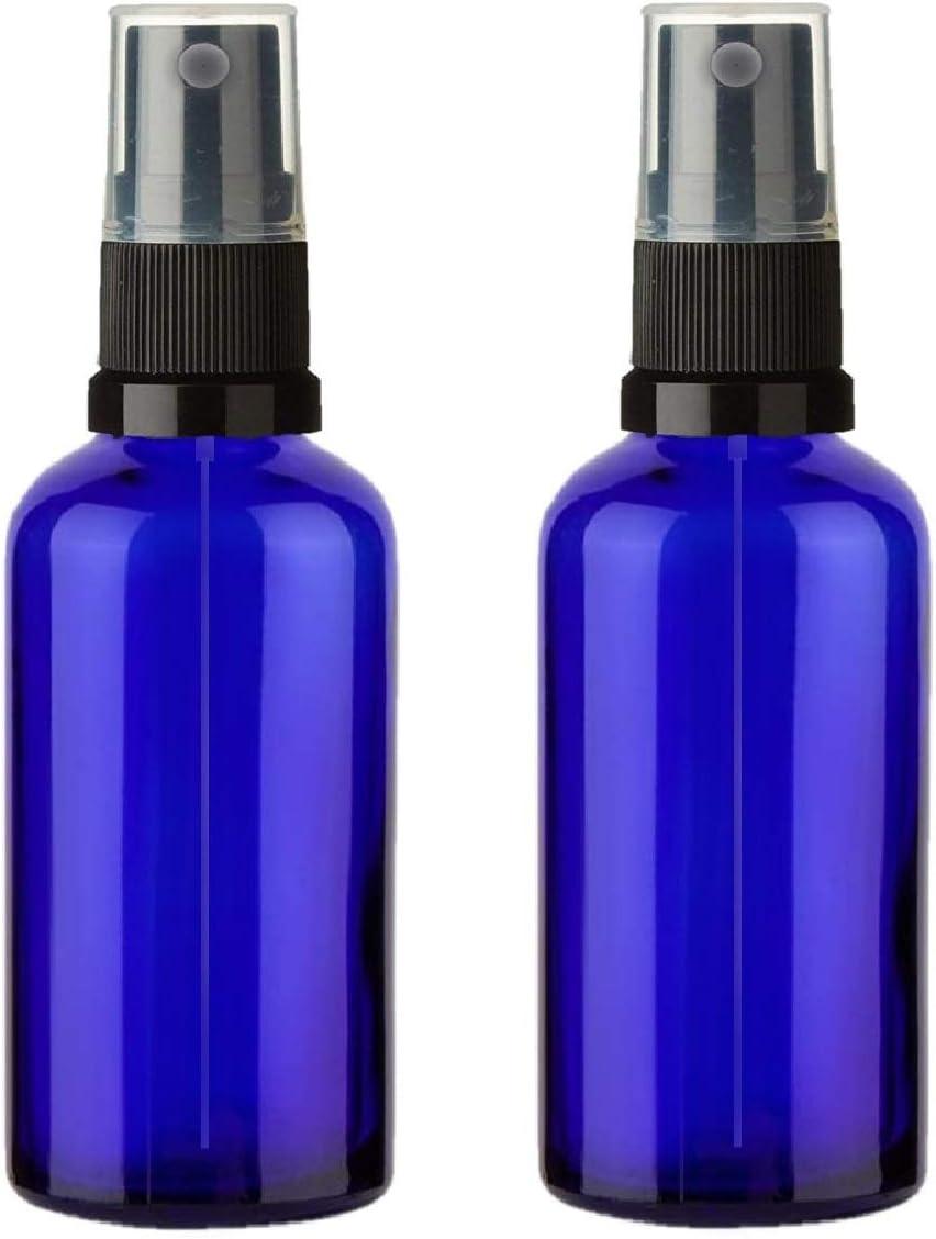 Set de 2 Botellas 100ml Botella de Vidrio Azul Atomizador Rociador Negro - Blue Bottles with Black Mist Sprayer - para Acerites Esenciales - Uso en Aromaterapia - Limpieza de Habitacion