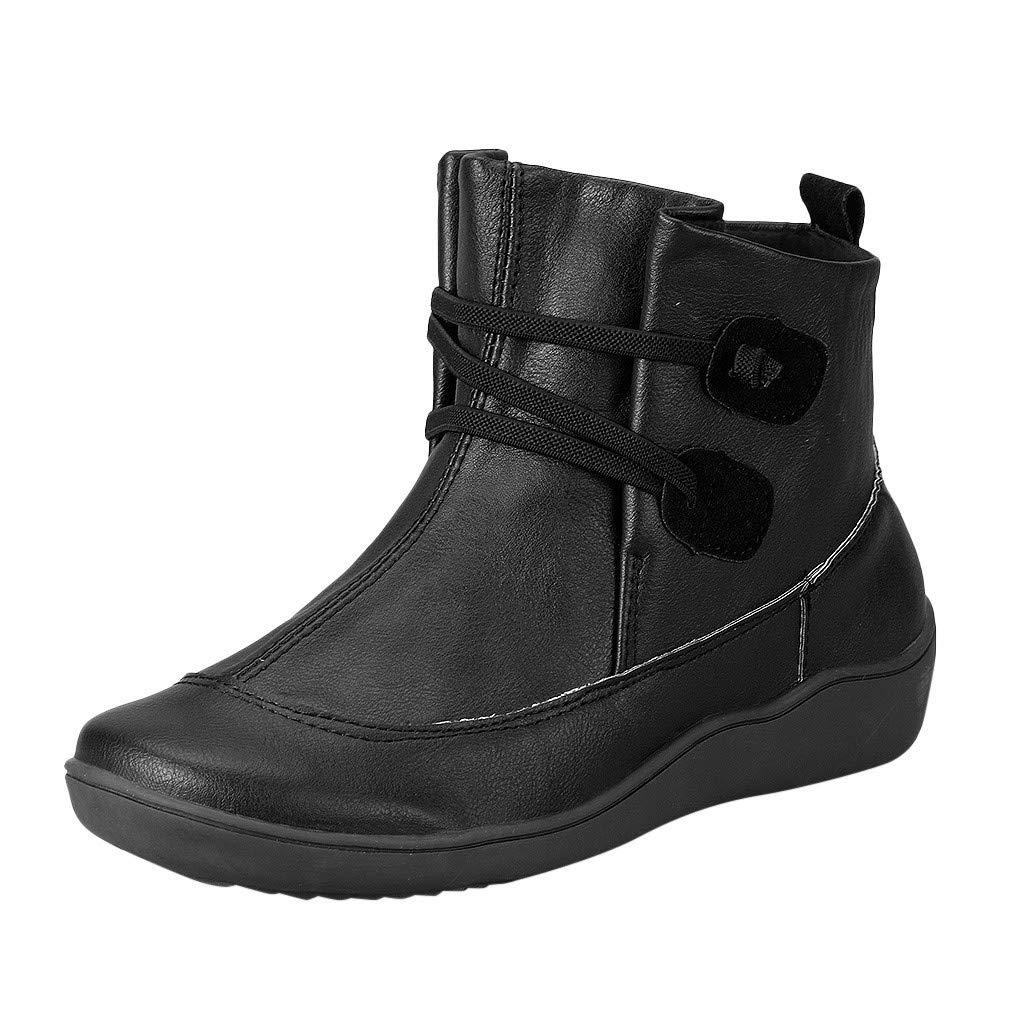 LILIGOD Schneestiefel Frauen Vintage Lederstiefel Flache wasserdichte Stiefel Winter Plus Samt Warme Stiefeletten Bequeme rutschfeste Boots Einfarbig Mode Slip-On Winterstiefel