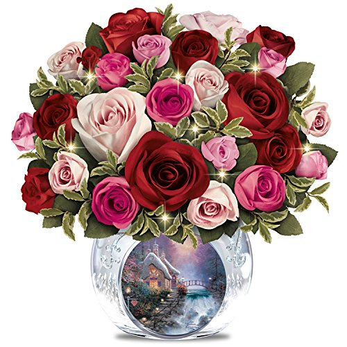 Thomas Kinkade Today, Tomorrow, Always Lighted Hand-Made Floral and Vase by The Bradford Exchange