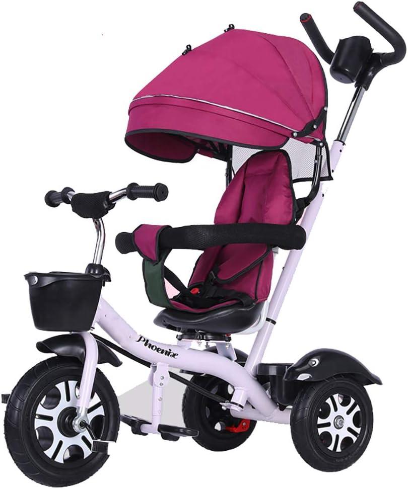 SSRS Tricycle Triciclos Bebes Evolutivo Infantil 4 en 1 Bicicletas para Bebe Niños Reclinable Cochecito con Cuna Reversible al Padres MáXima 30 Kg