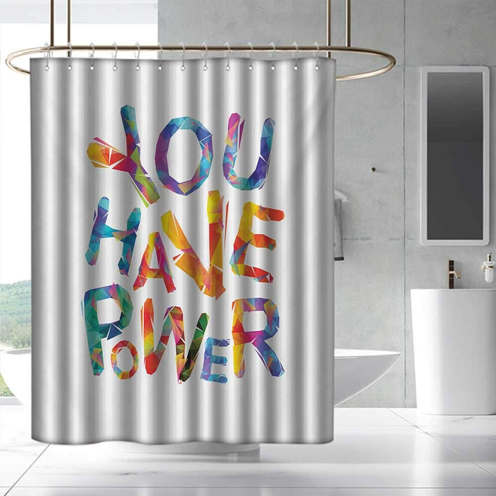 Fakgod Quote Shower Curtain with Hooks You Have Power Motivational Inscription Triangular Letters Colorful Youthful Design for Master, Kid's, Guest Bathroom W108 x L72 Multicolor