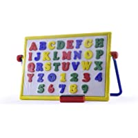 Kerwa Magnetic Alphabets and Numbers Cum 2 in 1 Writing Board for Kids || Alphabet Kids Writing Skill Slate || 2 in Board || Chalk Duster || 26 Magnetic Alphabets || Numbers 0 to 9 || Multicolor