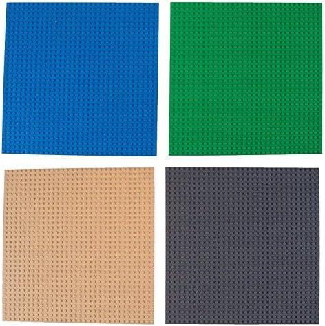 """Strictly Briks - Klassische Bauplatten - 100 % kompatibel mit Allen führenden Marken - zum Bauen von Türmen, Tischen & mehr - 10 x 10"""" (25,4 x 25,4 cm) - 8 Stück - Blau, Grau, Grün & Sandfarben"""