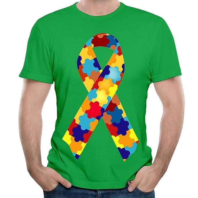 a2aeb41c FeiTian Autism Awareness Ribbon Mens Casual T Shirt Humor Clubbing Shirts