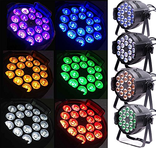 (Pack of 4) Led Par Light,18x15w Full Color 6IN1 RGBWA+UV,Use For Disco, Ballroom, KTV, Bar,Club, Party, Wedding