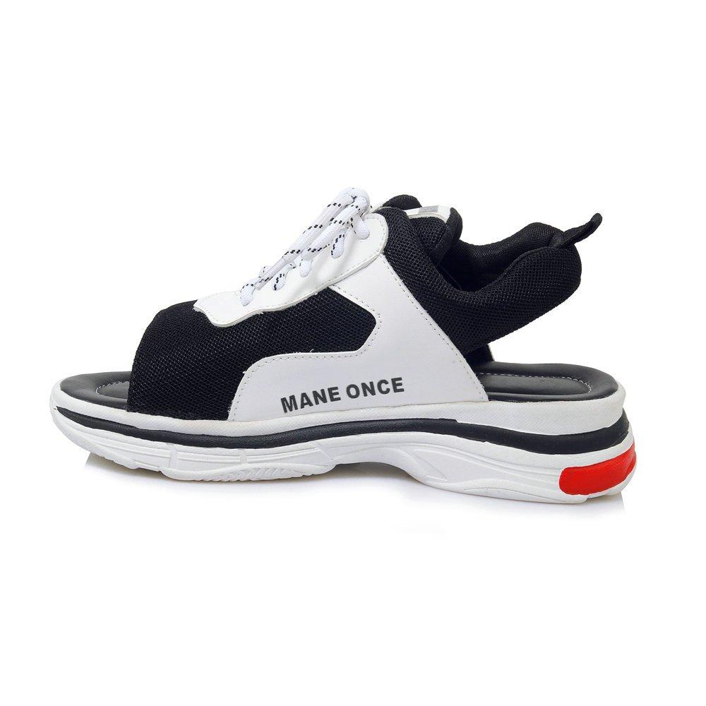 Women Walking Sandals Shoes Breathable Mesh Soft Sole Anti-Slip Platform Wedge Open Toe Lace up Casual Flats Outdoor B07CT8HX7C 8 B(M) US|Black