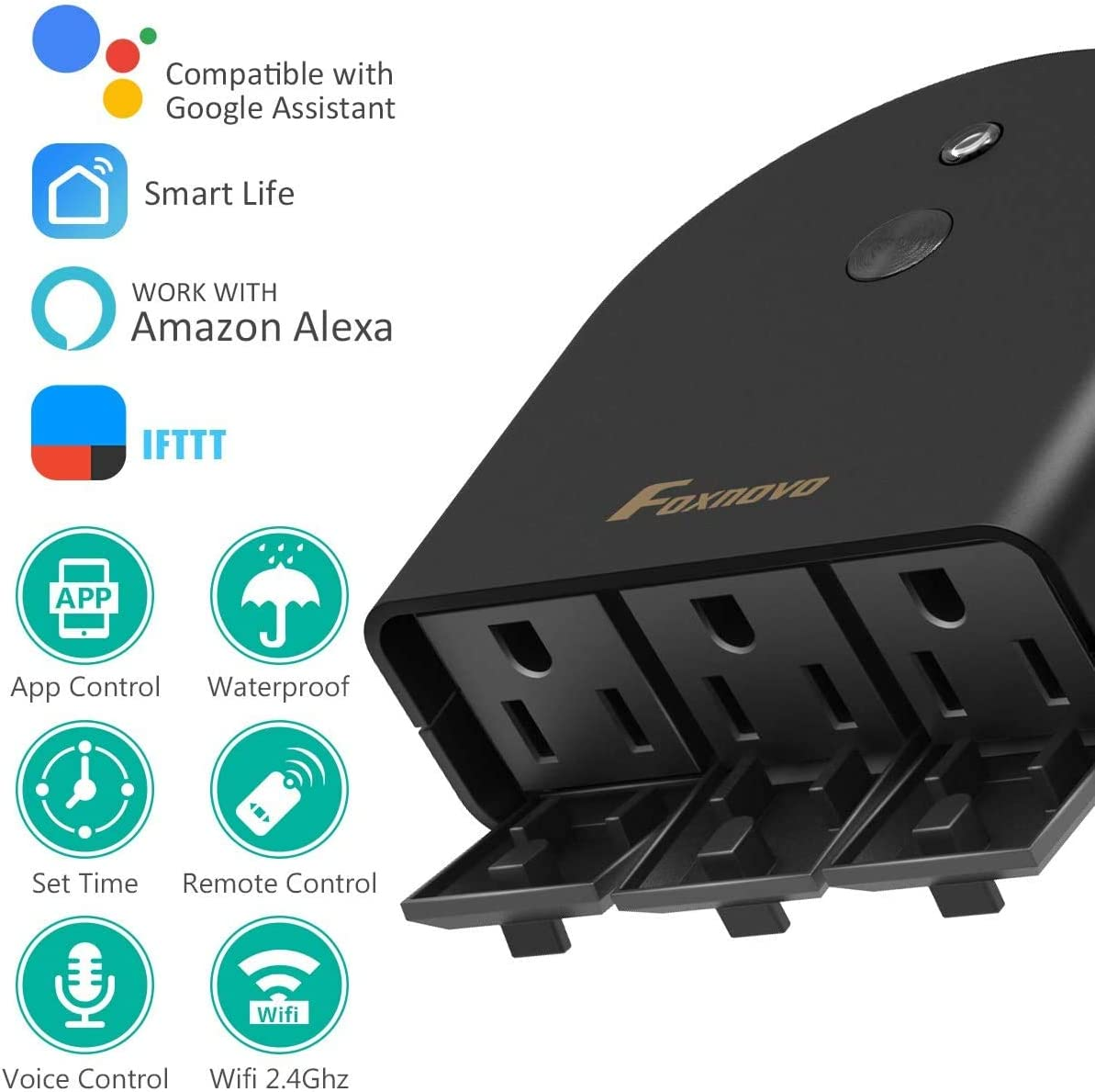 Outdoor Smart Plug with 3 Waterproof Socket Wi-Fi Plug Wireless Remote Control Voice Control Timer Outlet, US Plug