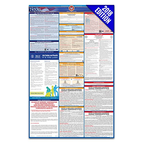 2018 Texas Labor Law Poster – State & Federal Compliant – (Osha Poster)