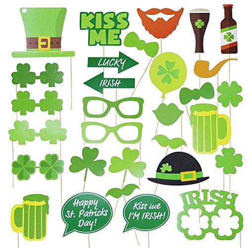 Mosoan Funny St. Patricks Day Photo Booth Props Kit - Irish Day Party Supplies - St. Patty's Day Party Favors - 28 Pcs