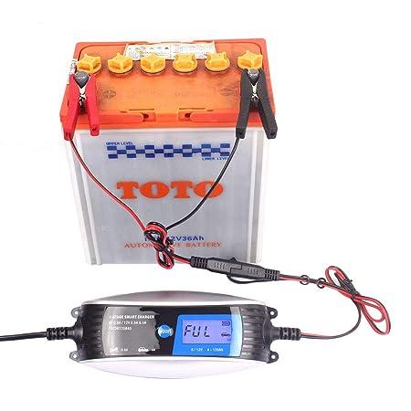 Cdrox 6V 12V 0.8A 4A Motocicleta Cargador de batería ...