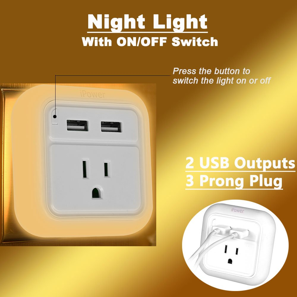 Dual USB Charger with LED Night Light, with ON OFF Switch for Night Light, Portable Travel Charger Plug iWireless USA iPower White by iWireless USA