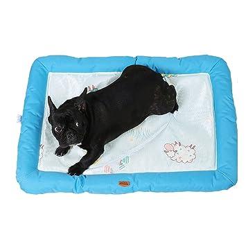 DaoRier Tela Alfombra Casa para Mascotas Cama de Perro Gato Puppy Conejo Mascota Antideslizante Plegable Suave Calentar con Cojín Azul 68cm×47cm×5cm: ...