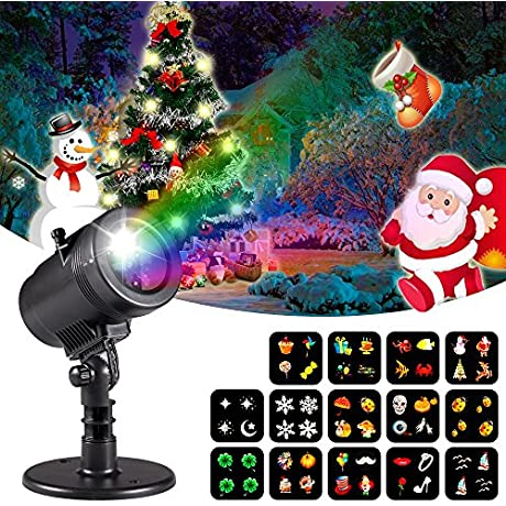 Christmas Decorations Projector Lights Lychee Outdoor Moving Rotating Projector LED Spotlights Waterproof Projection Led Lights W 14pcs Switchable Pattern Lens For Wedding Halloween Xmas Decoration