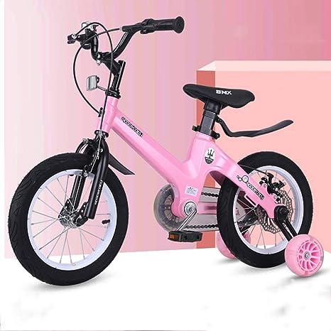 UOOGOU Bicicleta Infantil de 4 Ruedas Bicicleta Infantil Rosa/Rojo ...