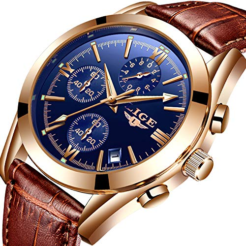 Watch for Men,LIGE Men's Watches Fashion Waterproof Chronograph with Date Business Dress Analog Quartz Wristwatch Luminous Brown Leather Watch Man