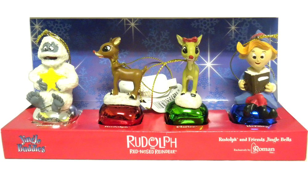 Rudolph Bell Orn 4pc Roman Inc 39114