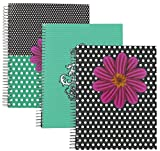 Emraw Fashion 5 Subject Notebook Spiral with 180 Sheets of Wide Ruled White Paper with Poly Dividers/Inside Pocket - Styles Included: Chandelier, Polka Dot Flower and Polka Dot Flower Mix. (3 Pack)