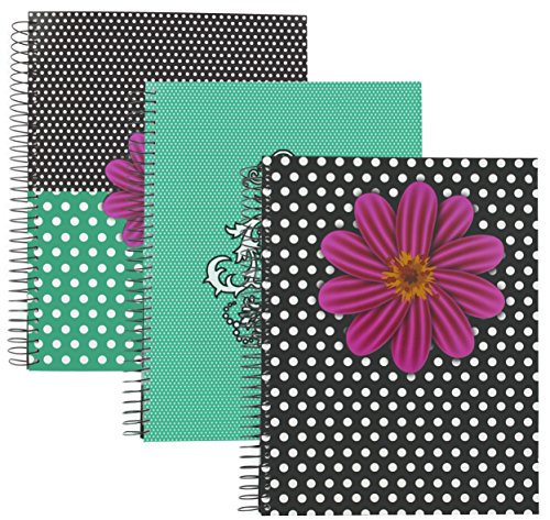 Emraw Fashion 5 Subject Notebook Spiral with 180 Sheets of Wide Ruled White Paper with Poly Dividers/Inside Pocket - Styles Included: Chandelier, Polka Dot Flower and Polka Dot Flower Mix. (3 Pack) by Emraw