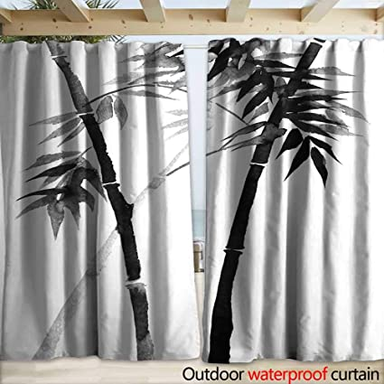 Warmfamily Indoor Outdoor Curtain Bamboo Drawing On Rice Paper With Ink Drapery W120 X L84