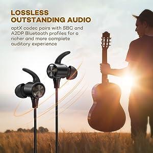 TaoTronics Bluetooth Kopfhörer 4.1 In Ear Kopfhörer bis zu 8 Stunden Spielzeit mit AptX, IPX6 Wasserfest, Magnetische Ohrhörer