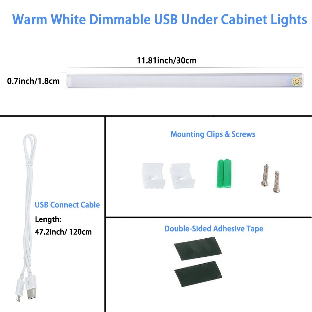 12 inch Thinnest LED Under Cabinet Lighting,Touch Switch Dimmable LED Under Cabinet Lights,USB Powered Wardrobe Light Strip, 6W/450 Lumen 3000K Warm White for Closet,Hallway (Plug Not Included) by lenoup (Image #2)