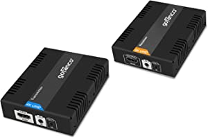 gofanco HDBaseT HDMI Extender 4K 60Hz (4:2:0 8-bit) Over CAT5e/CAT6/CAT7 Cable with Bi-Directional IR, PoC - Up to 70 Meters (230 feet) @ 1080p 60Hz 40 Meters (130 feet) @ UHD, HDCP 2.2 (HDbaseT-Ext)