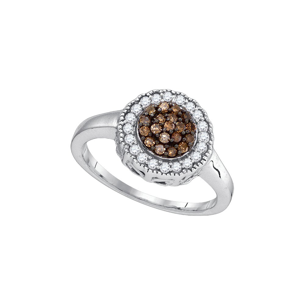 Size 5.5 - 925 Sterling Silver Round Chocolate Brown Diamond Cluster Ring (1/3 Cttw)
