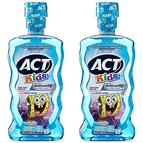 Act Fluoride Rinse (ACT Kids Anti-Cavity Mouthwash, Sponge Bob Squarepants, 16.9 oz. (Pack of 2))