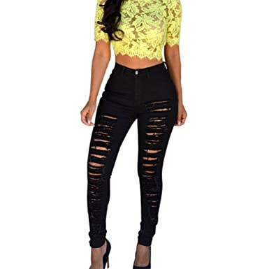 acb8c9d718b Theshy Jeans Women Skinny Ripped Holes Jeans Pants High Waist Stretch Slim  Pencil Trousers