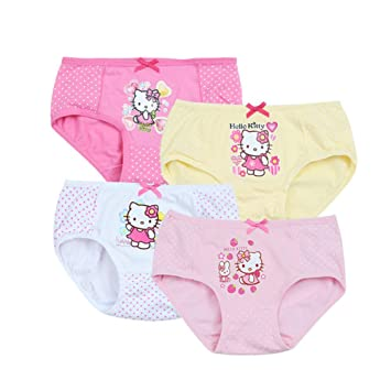 4c8fffc1a Amazon.com  2-8 Years Old Girls Polka Dot Hello Kitty Briefs Panties ...