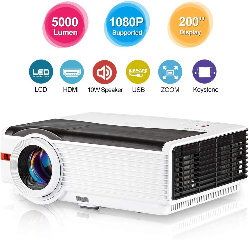 5000 Lumen High Brightness Video Projector Multimedia HDMI 1080P Supported LCD Outside Movie Projector,Compatible with Blu Ray DVD Laptop Computer ...