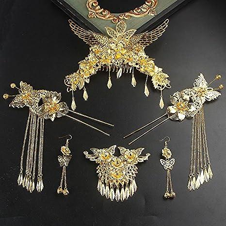 XPY DGX Accessori Per Capelli Da Sposa E Da Sposa Costume nuziale copricapo  Fengguan Cheongsam abbigliamento cinese df2598c242b8