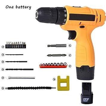 Destornillador eléctrico inalámbrico con 27 accesorios embrague de torque de 18 posiciones, caja de almacenamiento profesional de batería de litio 3900mah ...