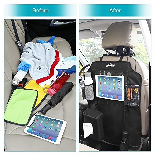 Oasser Kick Mats Car Seat Back Protectors Back of Seat Organizers 2 Pack XL with 1 Tissue Box Clear 10'' Ipad Holder 3 Large Storage Organizers by Oasser (Image #5)