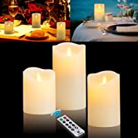 Flameless Candles Battery Operated Candles Plastic Pillar LED Candles with Dancing Flame with 10-Key Remote and Cycling 24 Hours Timer for Christmas,Home,Party Decoration (Body Color - Lvory White)