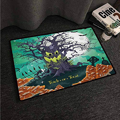 HCCJLCKS Front Door Mat Large Outdoor Indoor Halloween Trick or Treat Dead Forest with Spooky Tree Graves Big Kids Cartoon Art Print Easy to Clean Carpet W35 xL47 Multicolor