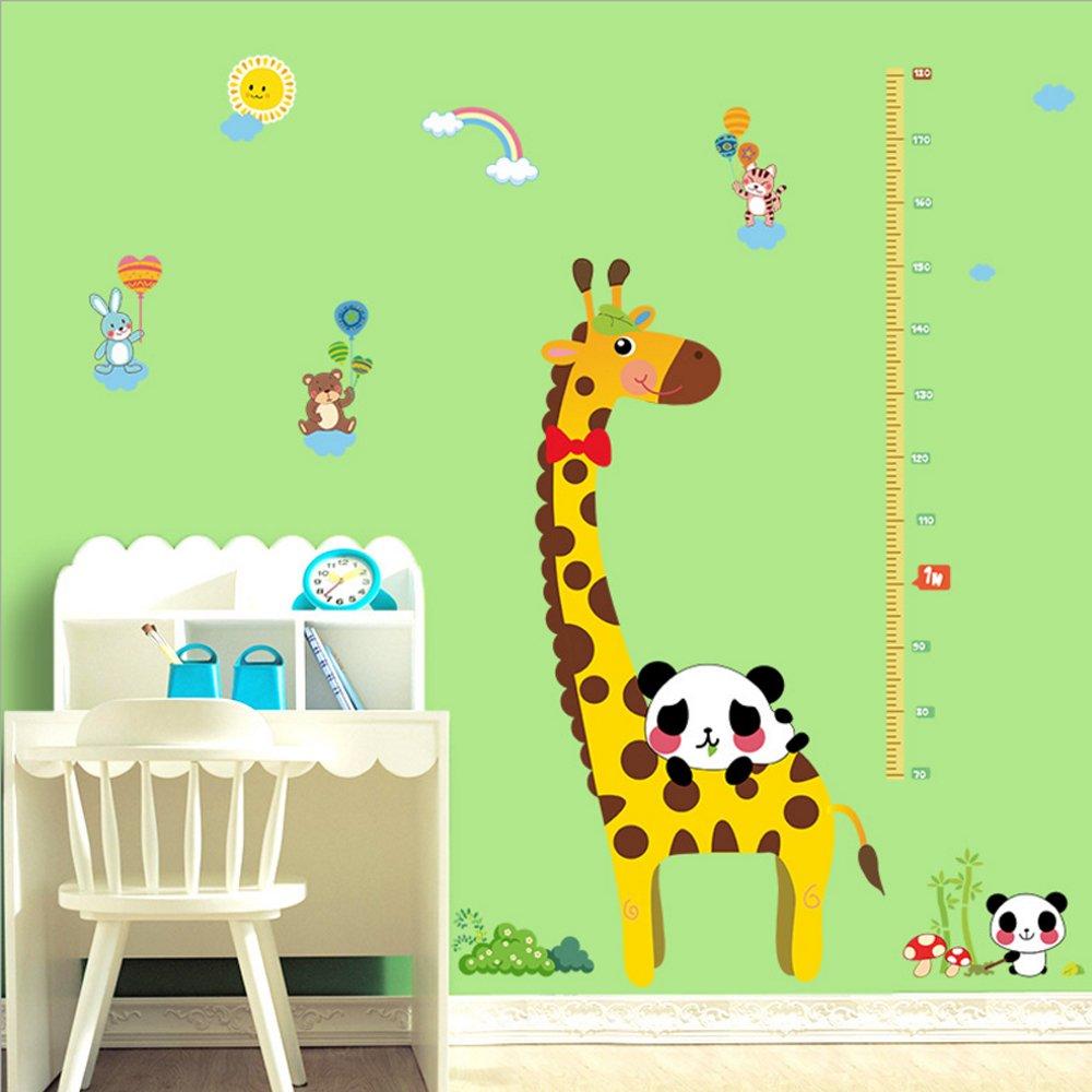 Cartoon Giraffe Height Measurement Pandas Heart Shape Wall Sticker Paper Home Decal Removable Living Dinning Room Bedroom Kitchen Art Picture Murals Girls Boys kids Nursery Baby Decoration fashionbeautybuy