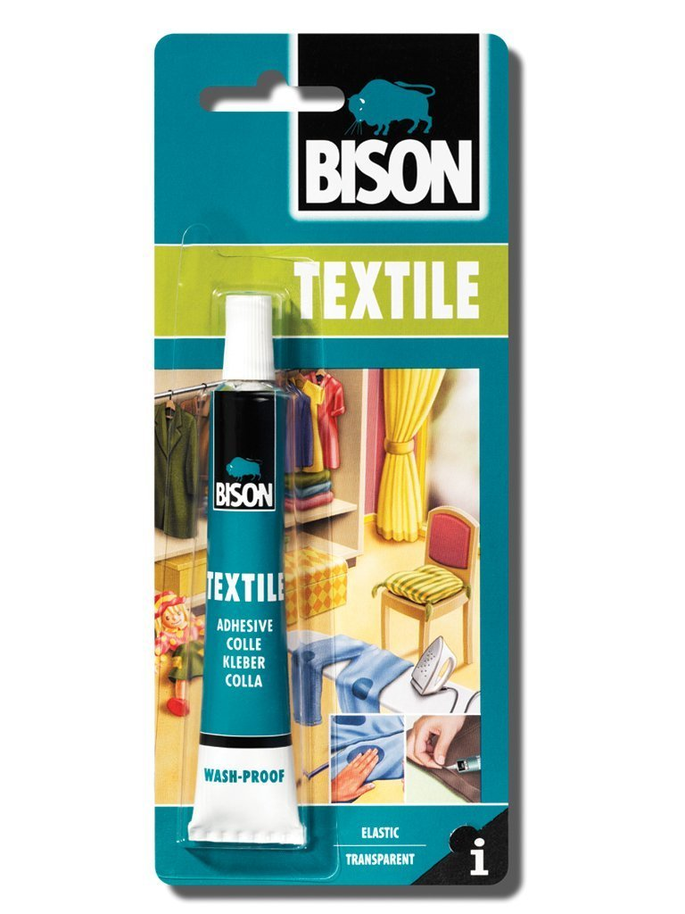 1 x 6305310 Bison Textile Fabric Material Jute Felt & Coir Adhesive Glue 25ml. Wash iron proof. Dries Clear.