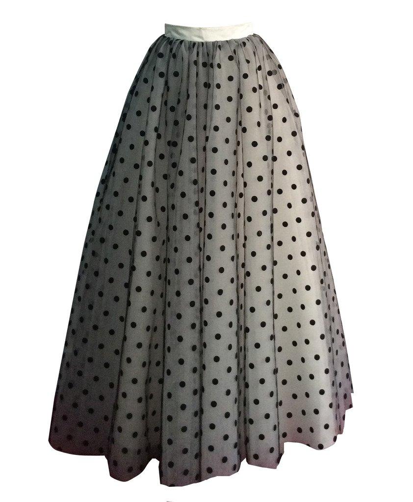 flowerry Women Polka Dot Tulle Knee Length Skirt Wedding Bridesmaid Tutu Skirt Custom Color (4XL, Ivory) by flowerry