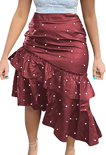 BingSai falda asimétrica de piel sintética con volantes para mujer ...