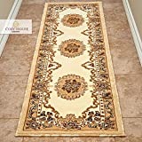 Cosy House Traditional Runner Rugs for Indoors & Out | Plush High Pile Olefin Polypropylene | Resists Stains, Soil & Fading | Power Loomed in Turkey, 2' X 7', Kingdom Ivory