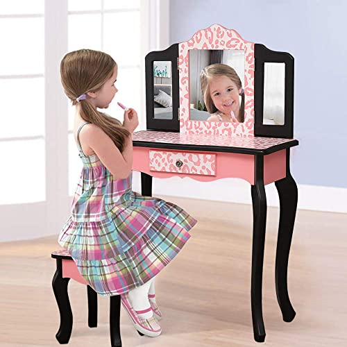 SSLine Kids Vanity Wooden Makeup Table and Chair Set