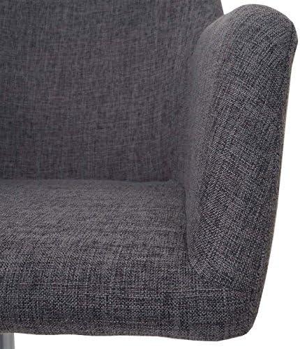 6X Chaise de Salle à Manger HWC-A74, Fauteuil pivotant, réglable en Hauteur ~ Tissu, Gris