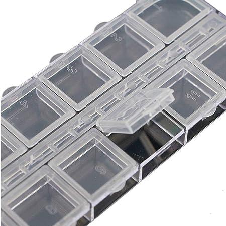 Caja de rejilla transparente para joyas de plástico de 12 compartimentos - Caja de almacenamiento de contenedores de ataúd Para decoraciones Herramientas de almacenamiento de maquillaje Contenedor mul: Amazon.es: Hogar