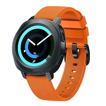 Bracelet de rechange Samlike pour montre Samsung Gear Sport - En silicone souple, Orange