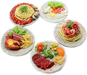 ThaiHonest Mixed 5 Assorted Spaghetti and Steak Dollhouse Miniature Food,Tiny Food