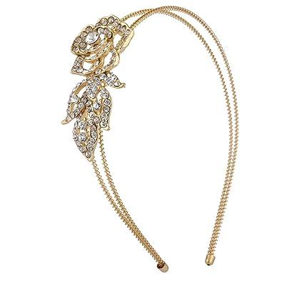 Lux Accessories Gold Tone Crystal Rhinestone Peach Flower Floral Coil Headband yahKG