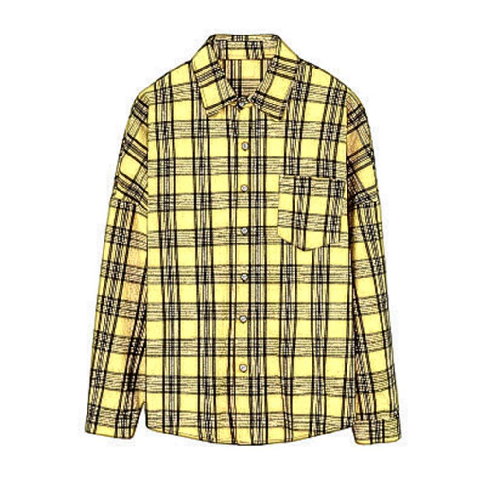 Casual Mens Tide Brand Plaid Long Sleeve Shirt Mens Student Loose Shirt Jacket