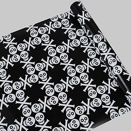 Review SimpleLife4U Black White Skull Shelf Liner Countertop Door Sticker Vinyl By SimpleLife4U by SimpleLife4U